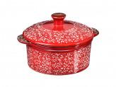 Горшочек с крышкой для запекания и сервировки, керамика, 15,5х13,5х6см, 500мл, красный