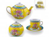 Набор чайный 1 из 4 предметов  6 чашек+6 блюдец+Чайник1,0л+Сахарница  на металлической подставке