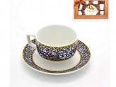 Набор кофейный 12 предметов   6 чашек 90мл+6 блюдец  орнамент  синий