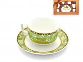 Набор кофейный 12 предметов   6 чашек 90мл+6 блюдец  орнамент  салатовый