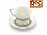 Набор кофейный 12 предметов   6 чашек 90мл+6 блюдец  греческая линия  серебро