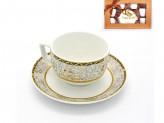 Набор кофейный 12 предметов   6 чашек 90мл+6 блюдец  орнамент  серый