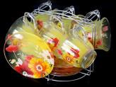 Набор чайный 12 предметов   6 чашек + 6 блюдец 220мл на металлической подставке стекло