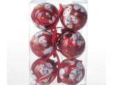 Набор 6 шт новогоднее украшение на елку, 6 см, пластик
