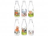 Бутылка для молока, 900мл, стекло, 6 дизайнов тек