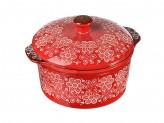 Кастрюля с крышкой для запекания и сервировки, керамика, 22,5х18,5х9см, красная