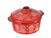 Горшочек с крышкой для запекания и сервировки, керамика, 15,5х13,5х6см, 500мл, красный, новая