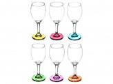 Бокал для вина на ножке из цветного стекла, 250мл, стекло, 6 цветов