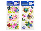 Наклейка интерьерная, ПВХ, 54,5х24см, с цветами и бабочками, 2 дизайна
