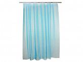 Шторка для ванной, винил, 180x180см, 12 колец, 3D, квадрат, голубой VETTA