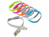 Шнур для зарядки micro USB с синхронизац. ПК, Браслет 1А, 6 цветов, пластик FORZA