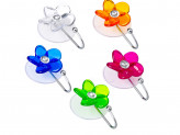 Держатель-крючок для полотенец Цветок, страза 1 присос., ПВХ, 5,5x7,5см, 5 цветов