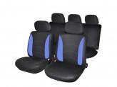 Авточехлы 9 пр полиэстер гамма 3 молн в спинке 3 молн в сидении черный синий