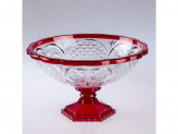 Ваза для фруктов, пластик, хрусталь прозрачный красный м4659