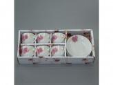 Набор керамическая 6 предметов кофейный рисунок цветы