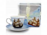 Набор чайный 2 предметов 1 чашка 1 блюдце 220мл квадратная упаковка