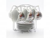 Набор чайный 12 предметов 6 чашек 6 блюдец 220мл на металлической подставке
