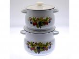 Набор кастрюль № 10 белый с рисунком ягодный чай