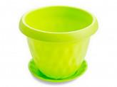 Кашпо 4,9л d-24,5см с подоном розетта зелёный