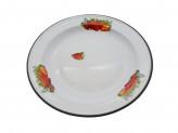 Блюдо 2,0л эмалированый с рисунком клубника садовая