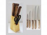 Набор ножей 7пр дер/подс кухонных в под. упак №2 с ножницами