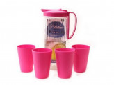 Набор 5пр (кувшин 2400мл+4 стакана 410мл) пластик розовый