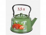 Чайник 3,5л зелёный рябчик с рисунком клубника садовая закат. дно с петлёй