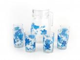 "Набор для воды ""Голубые цветы"" кувшин, стаканы 6шт PV-05012-5"