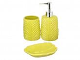 SonWelle Набор для ванной, 3 предмета ЛИСТ зеленый, керамика