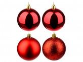 СНОУ БУМ Набор шаров 4 шт, 8см, пластик, в пакете, красный: глянец, матовый, глиттер