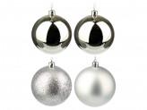 СНОУ БУМ Набор шаров 4 шт, 8см, пластик, в пакете, серебряный: глянец, матовый, глиттер