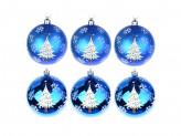СНОУ БУМ Набор шаров с рисунком 6шт, 8см, пластик, синий, подарочная упаковка