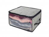 VETTA Кофр для одежды с прозрачным окном 35х30х20см, искусственный лен, полиэтилен
