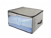 VETTA Кофр для подушек и одеял с прозрачным окном, 60х50х35см, искусственный лен, полиэтилен