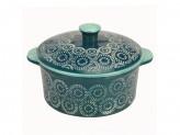 MILLIMI Горшочек с крышкой для запекания и сервировки, керамика, 16,5х13,5х6см, 500мл, аквамарин
