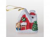 Сувенир новогодний домик с подсветкой 8см керамика вх12071