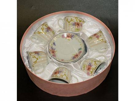 Набор чайный 12 предметов 220мл фарфор, подарочная упаковка YKG -237