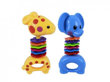 Погремушка Слоник/Жирафик, пластик, 8х15,5х4см, 2 дизайна