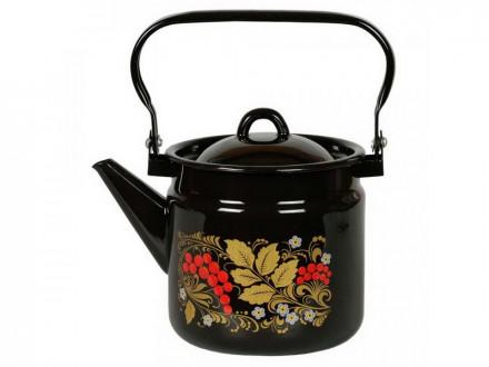 Чайник 2,0л эмалированый черн с крышкой расн подп с рисунком РЯБИНА