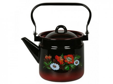 Чайник 2,0л эмалированый черный с крышкой расн подпыл с рисунком ШИПОВНИК с петлей