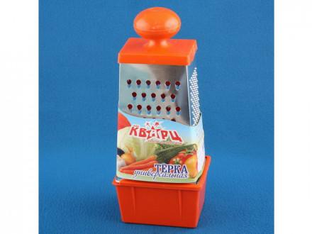 Терка 4-х гранная с контейнером УНИВЕРСАЛЬНАЯ пласт. круг. ручка сыр. напол. серв. упак.