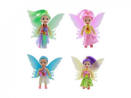 ИГРОЛЕНД Кукла с крыльями, пластик, полиэстер, 18, 5х14, 5х4см, 4 цвета