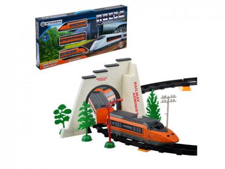Поезд с железнодорожными путями, функция движения пластик, 2АА, 55, 5х27х5см