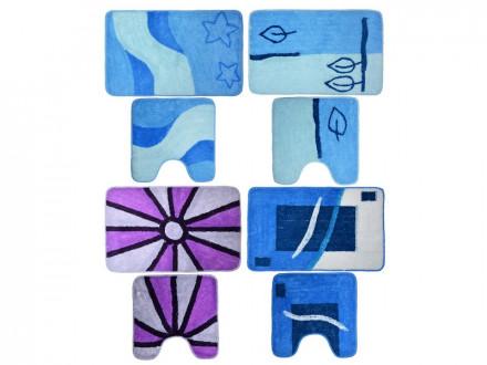Набор ковриков 2шт для ванной и туалета, акрил, 50x80см + 50x50см, синий 4 дизайна