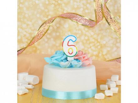 Свеча для торта в форме цифры 6, парафин, Капитан Весельчак