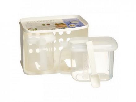 Набор банок для сыпучих продуктов 3 предмета (2 банки 0,72л + подставка) БЕЛЫЙ
