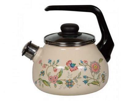 """Чайник 2,0л эм со свистком палевый с рисунком   """"ЛУГОВЫЕ ЦВЕТЫ"""" с черн/зерном внутри"""