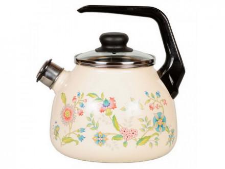 """Чайник 3,0л эм со свистком палевый с рисунком   """"ЛУГОВЫЕ ЦВЕТЫ"""""""