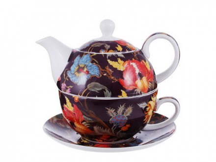 Чайный сервиз  Ботаника бордо (чайник, чашка, блюдце) костяной фарфор