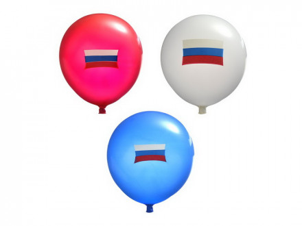 """Шары воздушные 10шт, 12"""", с флагом России, резина"""